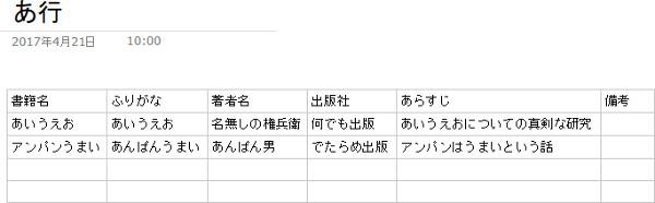 蔵書管理用の表